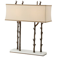 Theodore Alexander Essential Winter Lamp Table Lamp in Brass with Cream Dupioni Silk Shade 2021-822