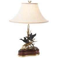 Essential 31 inch 75 watt Mahogany and Brass Table Lamp Portable Light