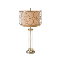 Theodore Alexander Engineered Space Table Lamp in Brass with Beige Linen Shade with Edged Metal Overlay 2021-926