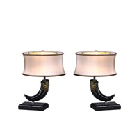 Theodore Alexander Kalahari The Buffalo Lamps pair of Table Lamps in Black with Ivory Silk Shade 2043-017