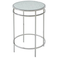 Barton 16 inch Polished Stainless Steel Accent Table Home Decor, Circular