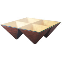 Pyramidal Points 46 inch Mahogany Veneer Cocktail Table Home Decor