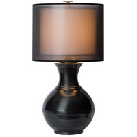 Thumprints Jupiter 1 Light Table Lamp in High Gloss Black with Sheer Organza and Linen Hardback Shade 1209-ASL-2141