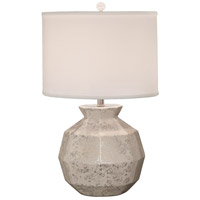 Thumprints Gem 1 Light Table Lamp in Silver and White with Shallow Drum Silk Hardback Shade 1214-ASL-2134