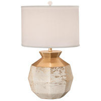 Gem 25 inch 150 watt Gold Lacquer w/White Overglaze Table Lamp Portable Light
