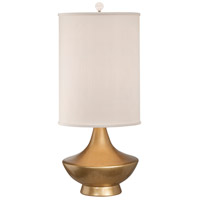Thumprints Cleopatra 1 Light Table Lamp in Gold with Cylinder Silk Hardback Shade 1216-ASL-2167