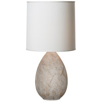 Thumprints Limestone 1 Light Table Lamp in Textured White with Deep Drum Silk Hardback Shade 1217-ASL-2123