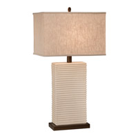 Thumprints Ripple 1 Light Table Lamp in Glazed White with Bronze Accents with Sharp Corner Rectangle Linen Hardback Shade 1220-ASL-2092