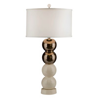 Thumprints Dante 1 Light Table Lamp in Metallic Bronze and Eggshell Crackle with Silk Hardback Shade 1221-ASL-2147