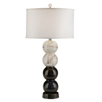 Thumprints Raven 1 Light Table Lamp in Marble and Black Glaze with Silk Hardback Shade 1222-ASL-2147
