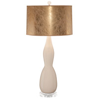 Thumprints Gold Rush 1 Light Table Lamp in Ivory Glaze with Textured Gold Hardback Shade with Silver Lining 1228-ASL-2156