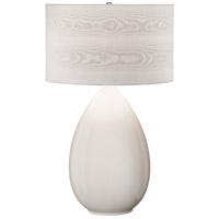 Thumprints Pure 1 Light Table Lamp in White Glaze with Moire Satin Patterned Hardback Shade 1229-ASL-2157
