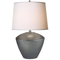 Thumprints Electra 1 Light Table Lamp in Grey with Off-White Supreme Satin Drum Hardback Shade 1230-ASL-2124