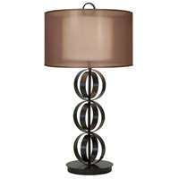Thumprints Compass 1 Light Table Lamp in Mahogany Bronze with Sheer Organza and Linen Hardback Shade 1237-ASL-2160