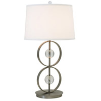 Thumprints Lake Shore 1 Light Table Lamp in Satin Pewter with Linen Hardback Shade 1241-ASL-2164