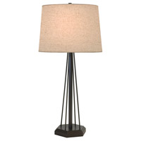 Thumprints Redwood 1 Light Table Lamp in Mahogany Bronze with Natural Linen Hardback Shade 1243-ASL-2165