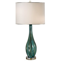 Thumbprints Seafoam 1 Light Table Lamp in Turquoise,Green,Black,Polished Nickel 1275-ASL-2188