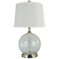 Karat 22 inch 150 watt Clear Seeded Glass w/Gold,Polished Nickel Table Lamp Portable Light