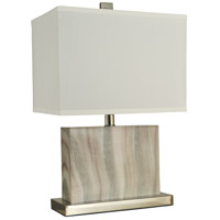 Dune 20 inch 150 watt Natural Alabaster Pattern,Polished Nickel Table Lamp Portable Light