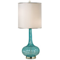 Isabella 28 inch 150 watt Translucent Turquoise,Polished Nickel Table Lamp Portable Light
