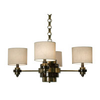 Thumprints Bombay 4 Light Chandelier in Antique Crass & Brown 1120-C10-2087