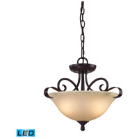 Brighton LED 16 inch Oil Rubbed Bronze Semi Flush Mount Ceiling Light, Convertible to Pendant