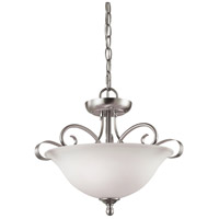 Brighton 2 Light 16 inch Brushed Nickel Semi Flush Mount Ceiling Light, Convertible to Pendant