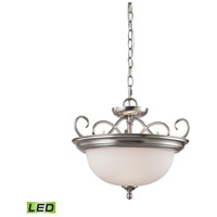 Chatham LED 17 inch Brushed Nickel Semi Flush Mount Ceiling Light, Convertible to Pendant