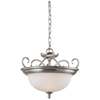 Chatham 2 Light 17 inch Brushed Nickel Semi Flush Mount Ceiling Light, Convertible to Pendant