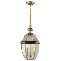 Ashford 3 Light 12 inch Antique Brass Outdoor Hanging Lantern
