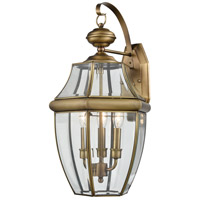 Thomas Lighting 8603EW/89 Ashford 3 Light 12 inch Antique Brass/Clear Glass Exterior Sconce Large