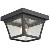 Springfield 2 Light 8 inch Matte Textured Black Outdoor Flush Mount