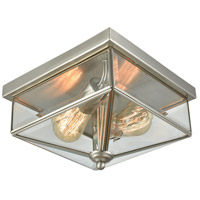 Lankford 2 Light 10 inch Brushed Nickel Outdoor Flush Mount