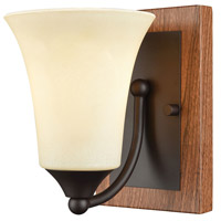 Park City 1 Light 5 inch Oil Rubbed Bronze with Wood Grain Vanity Wall Light