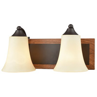 Park City 2 Light 14 inch Oil Rubbed Bronze with Wood Grain Vanity Wall Light