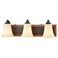 Park City 3 Light 22 inch Oil Rubbed Bronze with Wood Grain Vanity Wall Light