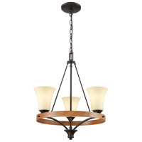 Thomas Lighting CN160321 Park City 3 Light 19 inch Oil Rubbed Bronze with Wood Grain Chandelier Ceiling Light