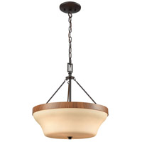 Park City 3 Light 16 inch Oil Rubbed Bronze with Wood Grain Semi Flush Mount Ceiling Light