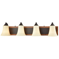 Park City 4 Light 30 inch Oil Rubbed Bronze with Wood Grain Vanity Wall Light