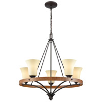 Thomas Lighting CN160521 Park City 5 Light 25 inch Oil Rubbed Bronze with Wood Grain Chandelier Ceiling Light