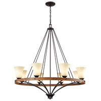 Thomas Lighting CN160821 Park City 8 Light 36 inch Oil Rubbed Bronze with Wood Grain Chandelier Ceiling Light
