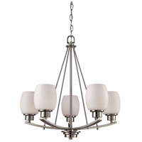Casual Mission 5 Light 22 inch Brushed Nickel Chandelier Ceiling Light