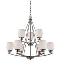 Casual Mission 9 Light 29 inch Brushed Nickel Chandelier Ceiling Light
