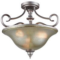 Georgetown 3 Light 19 inch Weathered Zinc Semi Flush Mount Ceiling Light