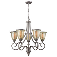 Georgetown 5 Light 27 inch Weathered Zinc Chandelier Ceiling Light