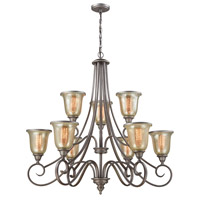 Georgetown 9 Light 36 inch Weathered Zinc Chandelier Ceiling Light