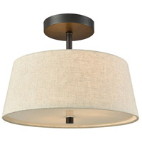 Morgan 2 Light 15 inch Oil Rubbed Bronze Semi Flush Mount Ceiling Light