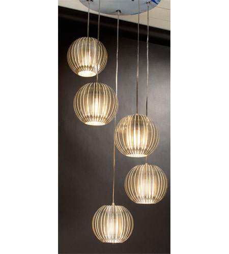 Trend Lighting Phoenix 5 Light Pendant in Clear Acrylic and Satin Silver TP6300-5 photo