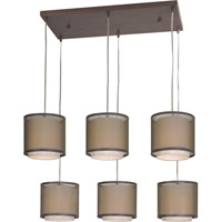 Trend Lighting Brella 6 Light Chandelier in Antique Bronze with Sheer Smoke and Shantung Shade BP7130