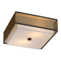 Trend Lighting Brella 2 Light Flushmount in Antique Bronze with 2-Layer Sheer Smoke and Shantung Shade BP7438